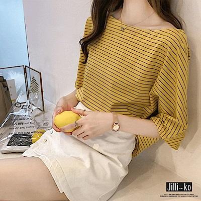 Jilli-ko 韓版條紋寬版短袖T- 黃/藍