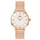 Henry London 英倫時尚米蘭帶手錶-白X玫瑰金框/34mm
