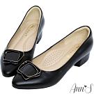 Ann'S鋼琴烤漆氣質方釦小羊皮粗低跟尖頭包鞋