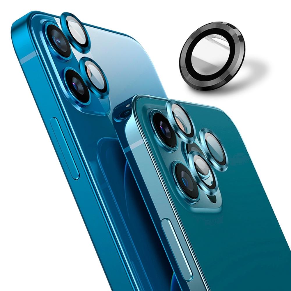 【Ayss】藍寶石鏡頭保護貼 iPhone 12 Pro/莫氏硬度9/金屬邊框/鏡頭全包覆式/AR光學玻璃/疏水疏油-3入-石墨黑