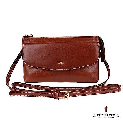 CITY FLYER 城市旅者 義大利植鞣牛皮系列斜側背拉鏈雙主袋包包-深咖啡色