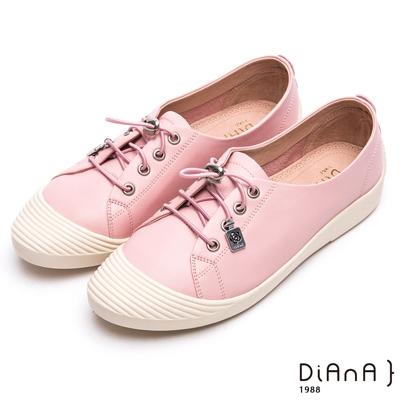 DIANA 漫步雲端焦糖美人款--免綁帶超柔軟真皮休閒鞋 – 粉