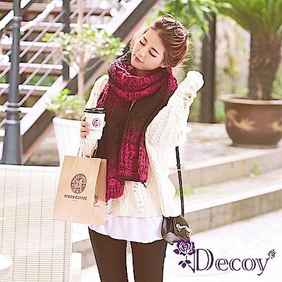 Decoy 漸變色彩 麻花編織加厚圍巾 紅黑