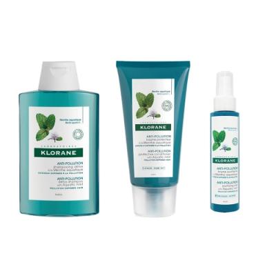 KLORANE 蔻蘿蘭涼感淨化三步驟旅行組(涼感淨化洗髮精100ML+涼感淨化光感護髮膜50ML+涼感淨化防護精華10ML)