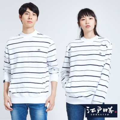 EDO KATSU江戶勝 微高領細條落肩長袖T恤-中性-白色