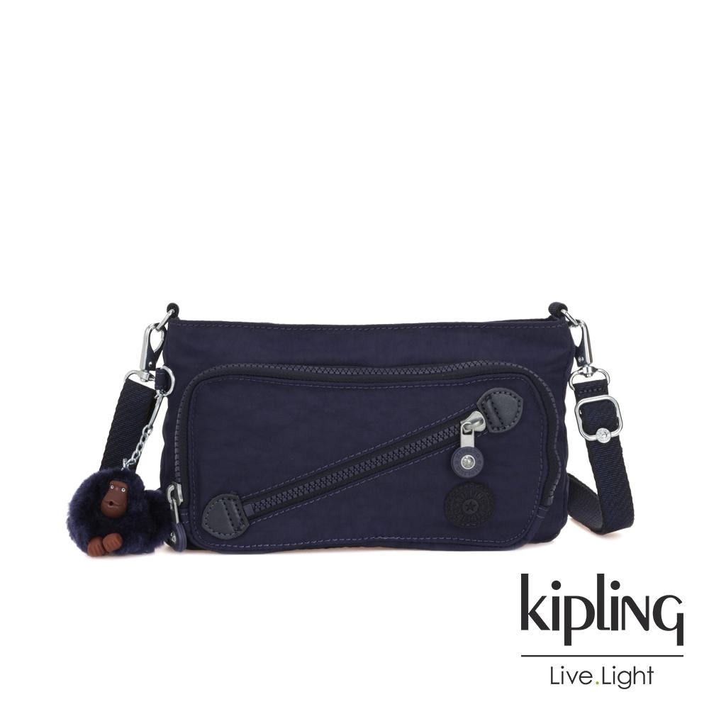 Kipling 復古歐風墨水藍斜拉鍊肩背包-MILOS