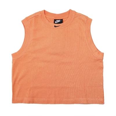 Nike 背心 NSW Washed Tank Top 女款 運動休閒 短版 刺繡小Logo 街頭風 橘 黑 CZ9853-858