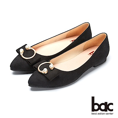 bac都會新秀 - 尖頭珍珠金屬飾釦平底包鞋