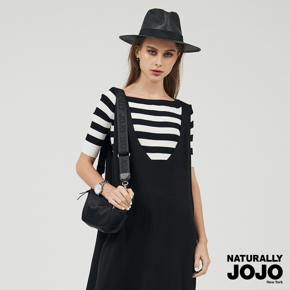 【NATURALLY JOJO】五分條紋落肩線衫 (黑白條紋)