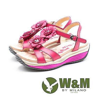 W&M FIT(女)健走運動風 彈力增高涼鞋-桃(另有綠)
