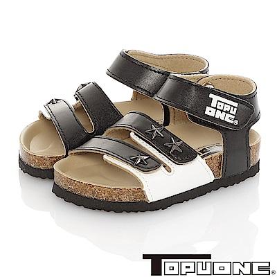 TOPUONE童鞋 輕量減壓吸震腳床型涼鞋-黑