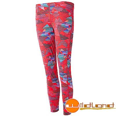 Wildland 荒野 0A52688-13橘紅色 女彈性保暖內搭貼腿褲