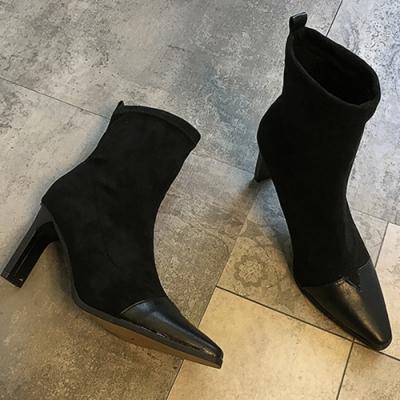 KEITH-WILL時尚鞋瘋時尚不敗經典素面尖頭粗跟短靴-黑色