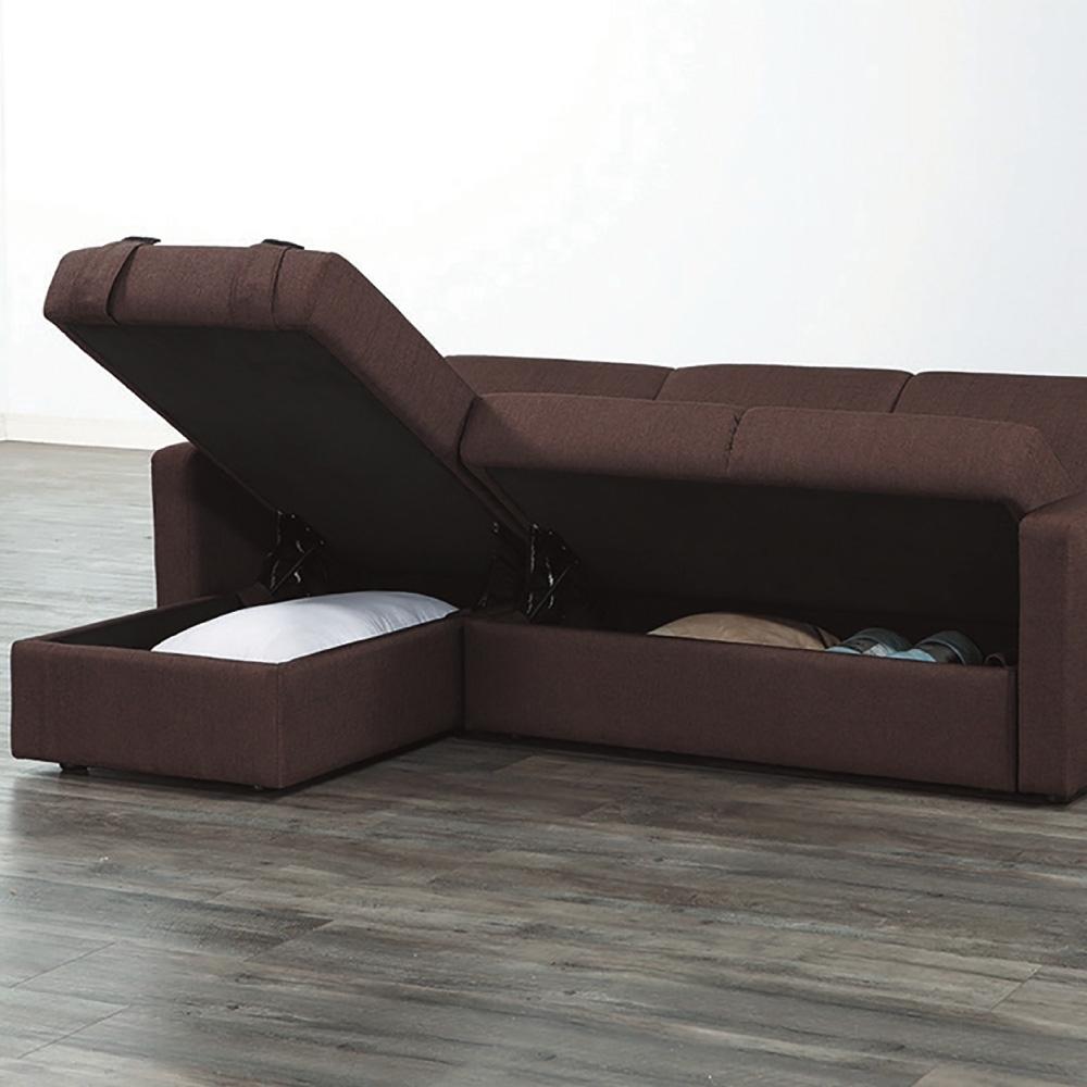 文創集 梅莉 時尚咖棉麻布多功能可收納沙發/沙發床(展開式沙發/沙發床二用設計)-165x165x41cm免組