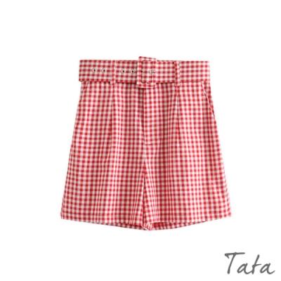 時尚紅格紋腰帶短褲 TATA-(S-L)