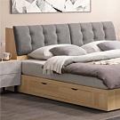 文創集 哈根現代6尺亞麻布雙人加大床頭箱(不含床底)-182x33x94cm免組