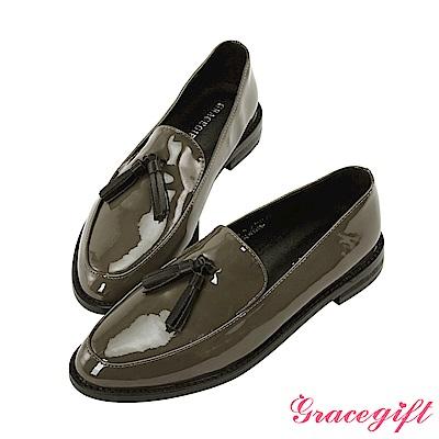 Grace gift-異材質流蘇漆皮樂福鞋 灰