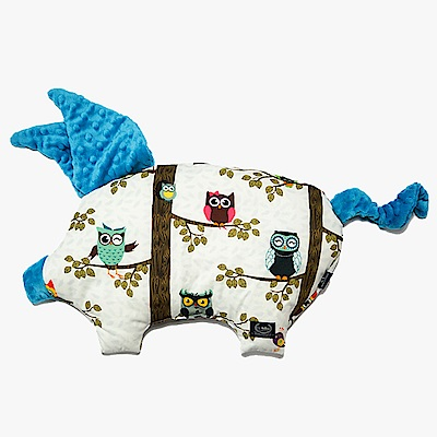 La Millou 豆豆小豬枕嬰兒枕-AnnaMucha設計師限量款(樹屋貓頭鷹)-土耳其藍