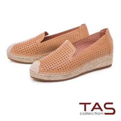 TAS 幾何鏤空麻繩編織懶人鞋-俐落卡其