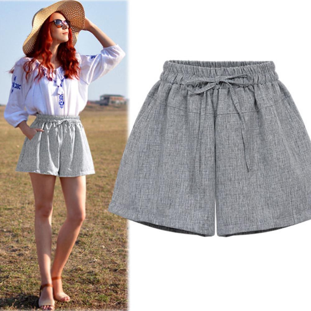 MOCO素色鬆緊腰側口袋薄款西裝短褲闊腿短褲
