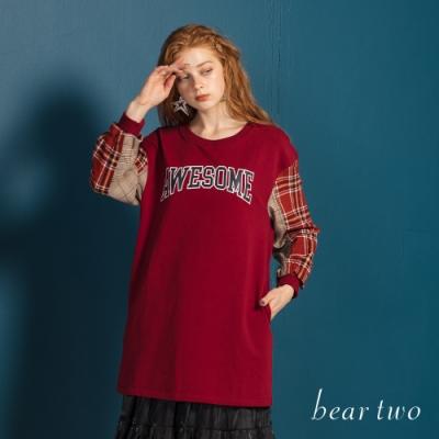 bear two- 格紋接袖長版上衣 - 紅