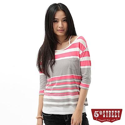 5th STREET 配色條紋七分袖T恤-女-珊瑚紅