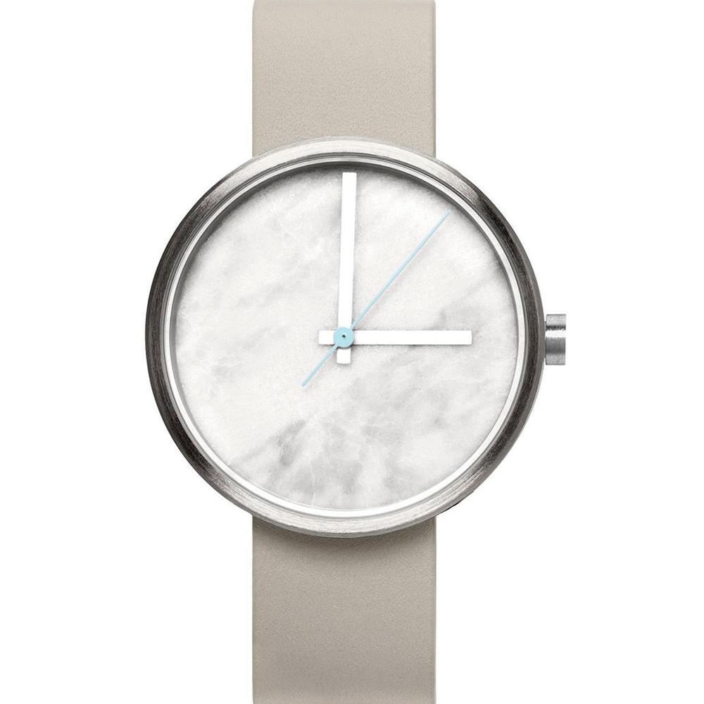 AÃRK 時尚大理石灰真皮革腕錶 /白38mm @ Y!購物