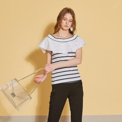 ICHE 衣哲 氣質荷葉條紋拼接造型上衣(三穿)-沁白