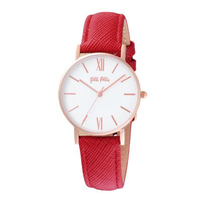Folli Follie 簡約典雅皮革腕錶-紅(WF18R034SPW-RE)