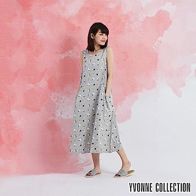 YVONNE 小花側邊口袋無袖洋裝-淺灰