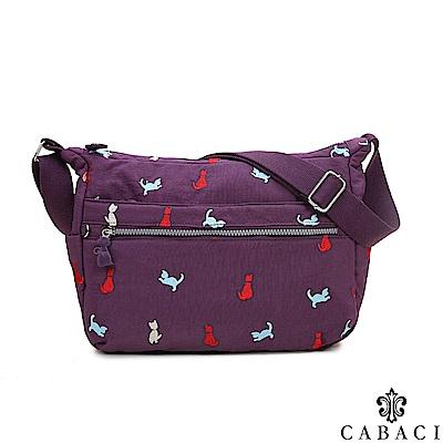 CABACI 淘氣小貓繡線多隔層斜背包-紫色
