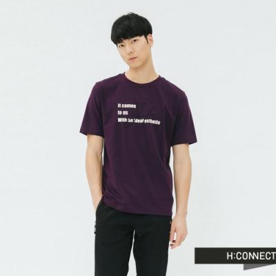 H:CONNECT 韓國品牌 男裝-個性標語圓領T-shirt-紫