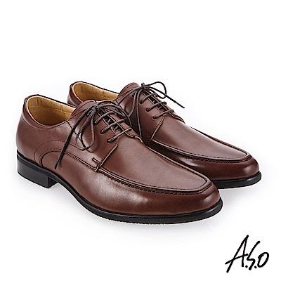 A.S.O 零壓挺力 臘感牛皮高透氣真皮鞋 咖啡