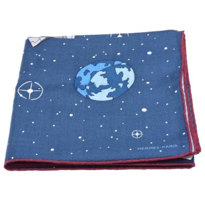 HERMES 經典Odyssey系列太空船圖案喀什米爾方巾/披巾(藍)