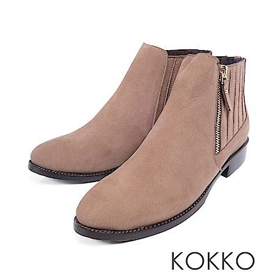 KOKKO-街頭直擊顯瘦感美腿真皮短靴-焦糖拿鐵