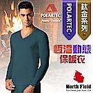 North Field 男 Polartec V領控溫強刷毛保暖衛生衣_深藍