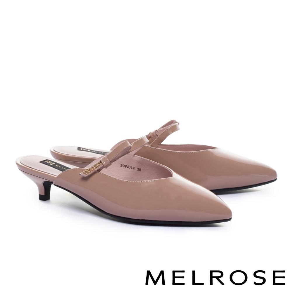拖鞋 MELROSE 時尚金屬飾釦蝴蝶結漆皮尖頭低跟穆勒拖鞋-粉