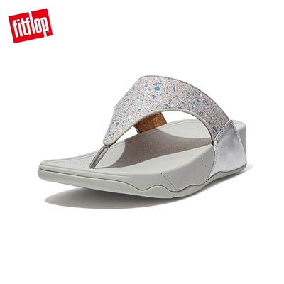 FitFlop LULU GLITTER SPLASH WIDE FIT TOE-POST SANDALS 潑墨亮粉夾腳涼鞋-女(銀色)