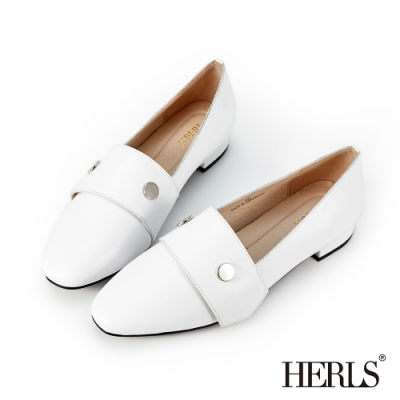 HERLS樂福鞋-全真皮銀釦魔鬼氈橫帶懶人樂福鞋-白色