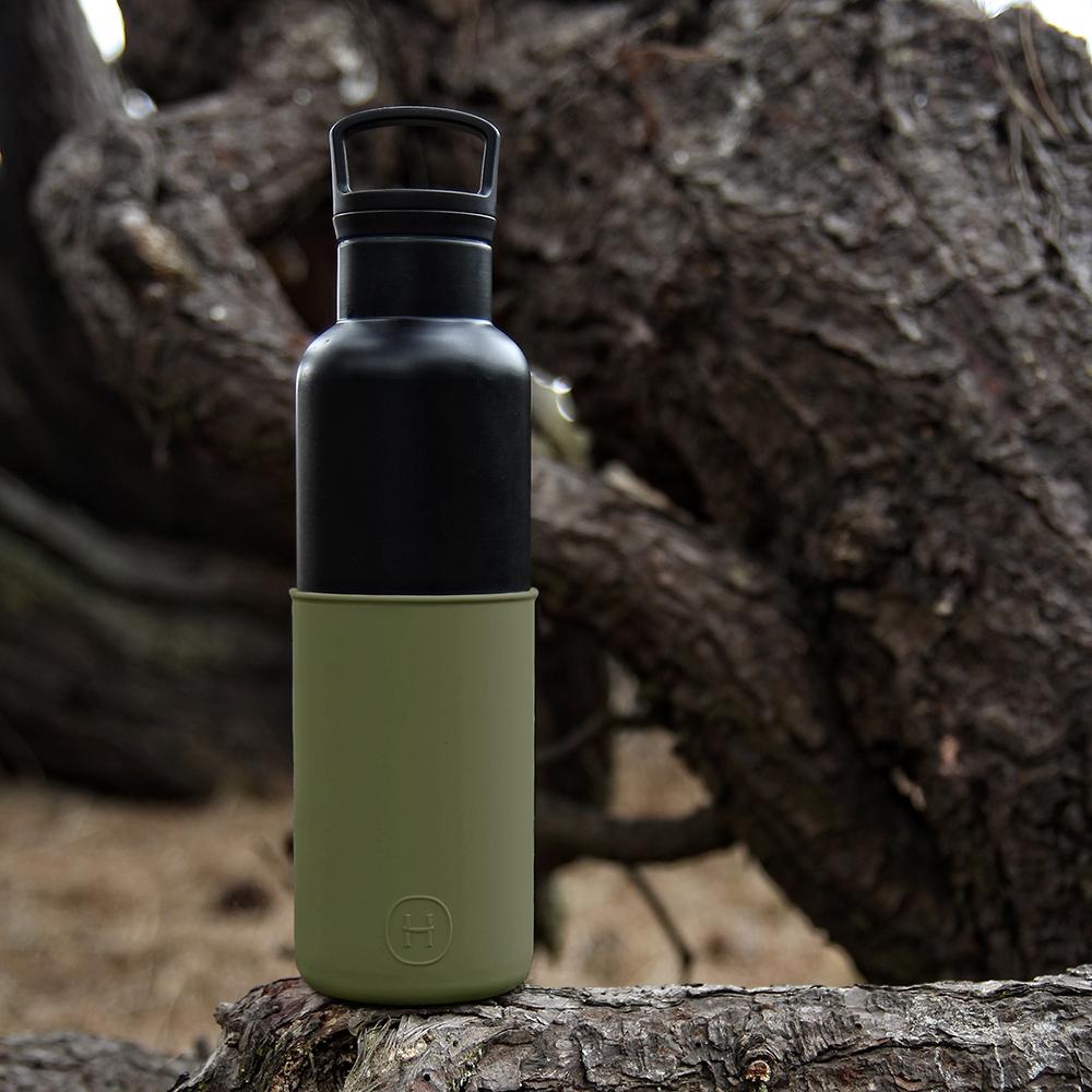 美國HYDY時尚保溫瓶_CinCin Black 海藻綠-黑瓶 590ml