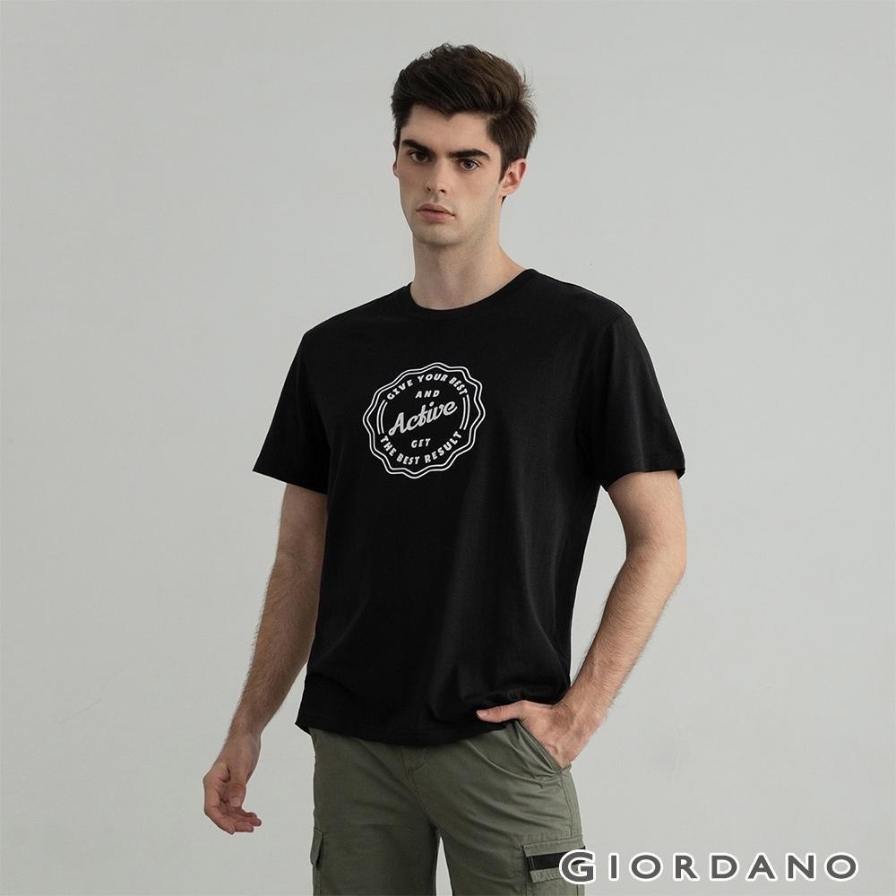 GIORDANO 男裝KEEP GOING印花T恤 - 20 標誌黑