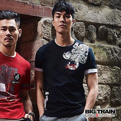 BIG TRAIN 108水滸龍魂圓領短袖-男-黑色