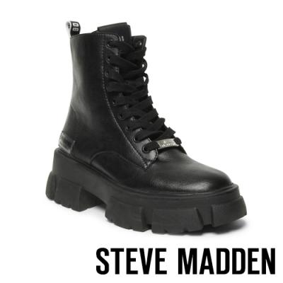 STEVE MADDEN-TANKER ROCK BOTTON 經典綁帶字母厚底中筒靴-黑色