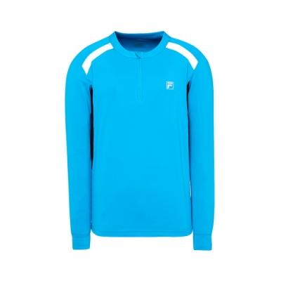 FILA 男抗UV吸濕排汗長袖T恤-藍 1TET-5301-BU