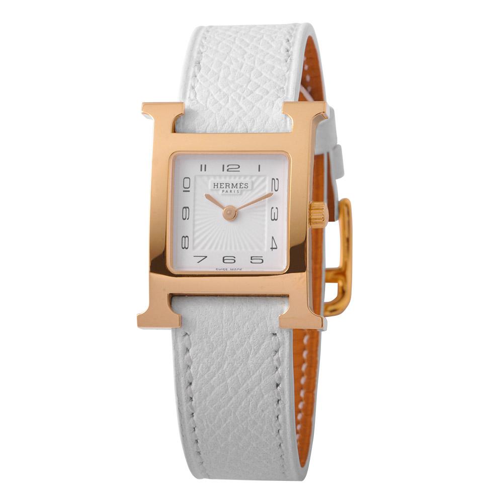HERMES 愛馬仕小型白面H女錶 H1.201配白錶帶
