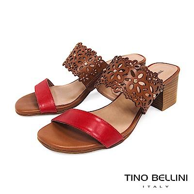 Tino Bellini 巴西進口牛皮鏤花鑽飾中跟涼拖鞋 _ 棕+紅