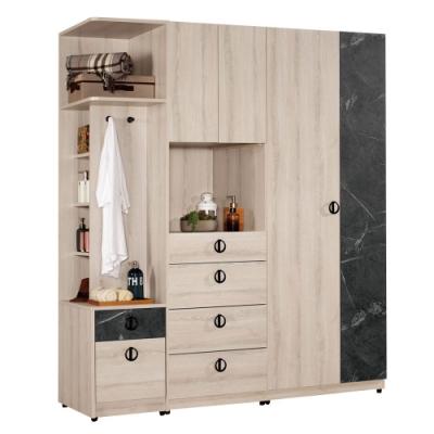 文創集 伊妮5.9尺衣櫃(二向可選+雙衣櫃+側邊櫃)-175.5x60.5x195.5cm免組
