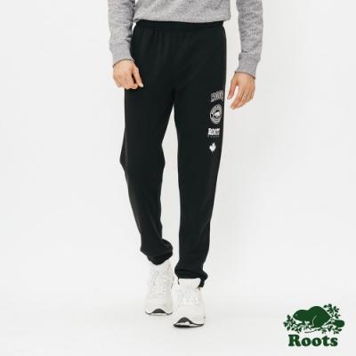 男裝Roots-印花刷毛棉質長褲-黑