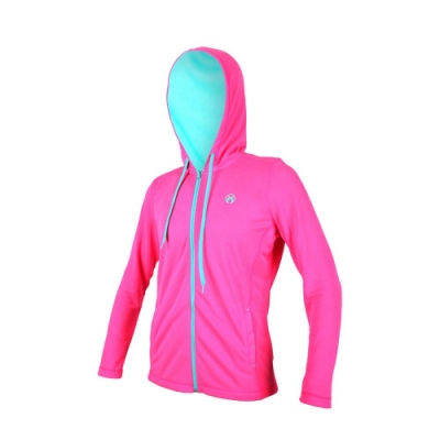 FIRESTAR 女連帽吸溼排汗針織夾克-慢跑 路跑 連帽外套 螢光粉湖水藍