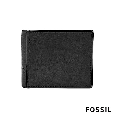 FOSSIL INGRAM 黑色真皮商務零錢RFID皮夾 男